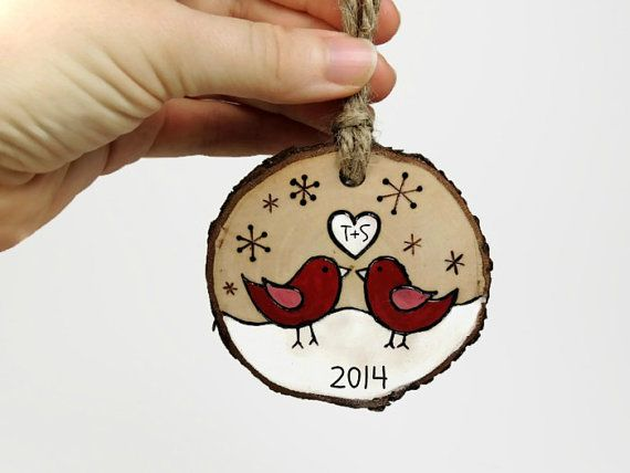 Personalized Our First Christmas Ornament: Rustic wood burned love birds on tree slice by SimplyTwitterpated