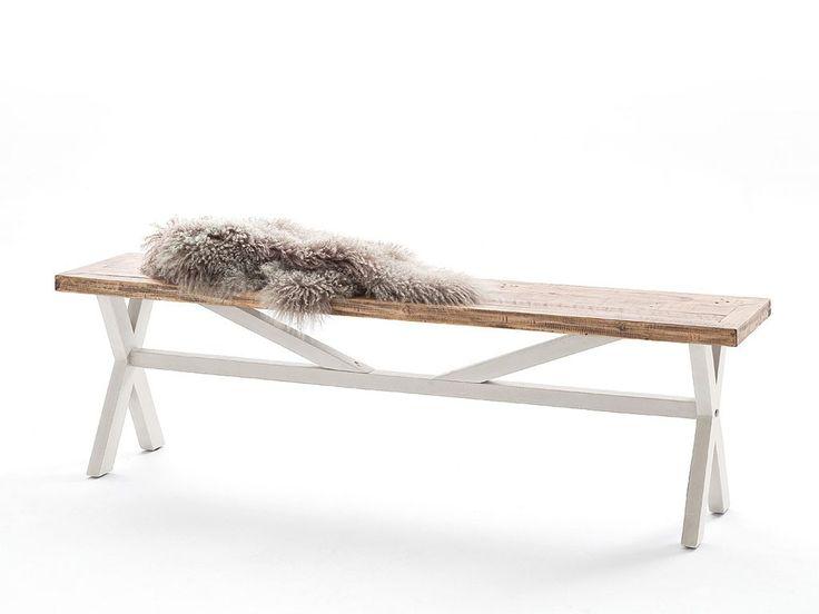 Biała ławka drewniany Alice
