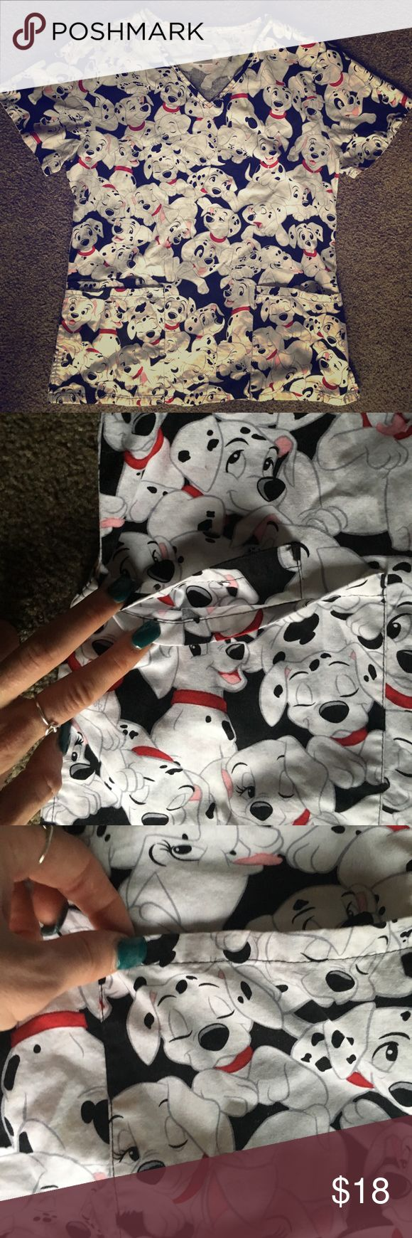 ❤️Disney Scrub Top❤️ Absolutely adorable 101 dalmations Disney Scrub top. Double pocket on one side single pocket on other in great cond. besides slight discoloration on puppy shown in last photo! This is a rare top and I hate to see it go but I do not wear any patterned scrubs anymore. My loss your gain!! ❤️❤️ Disney Other