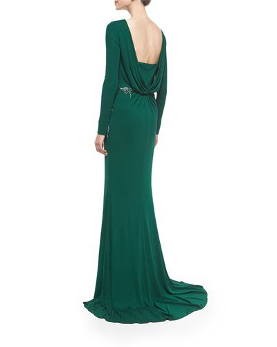 Emerald Green Long-Sleeve Draped-Back Beaded Gown, Badgley Mischka | Neiman Marcus
