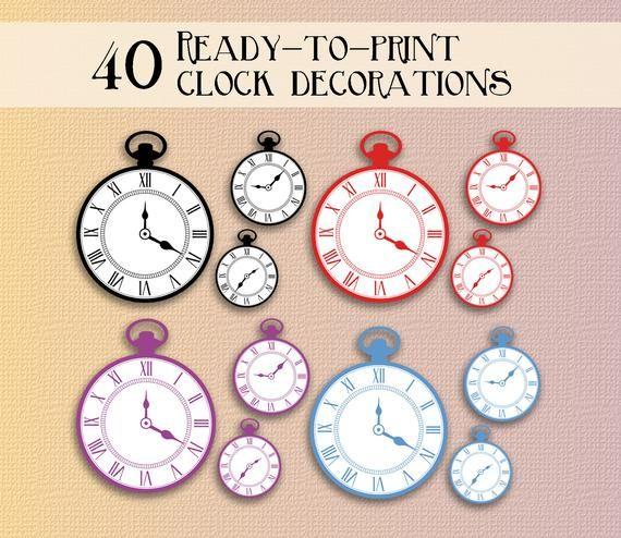 Alice In Wonderland Clock Party Printables Alice In Wonderland