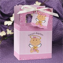 Angel Baby Girl - Classic Personalized Baptism Favor Boxes