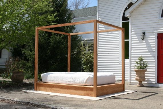 Low Platform Bed With Large Rail Canopy Natural Color
