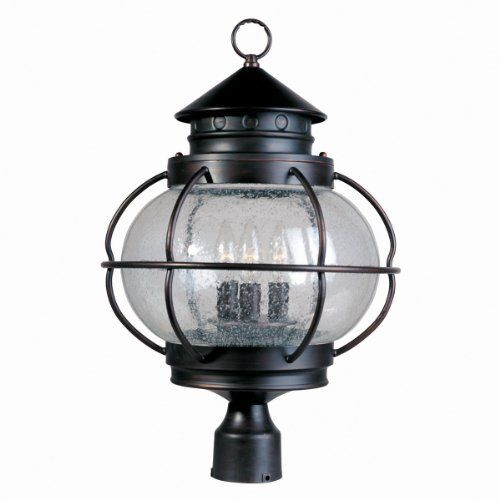 Maxim Lighting 30501CDOI 3 Light Portsmouth Post Mount Light by Maxim Lighting. $147.60. From the Manufacturer                Finish: Oil Rubbed Bronze, Glass:Seedy, Light Bulb:(3)60w B10 Cand F Incand From the Portsmouth Collection, this 3 light outdoor post lantern features Seedy Glass. Finished in Oil Rubbed Bronze. .                                    Product Description                Maxim 30501CDOI Portsmouth 3-Light Outdoor Pole/Post Lantern Portsmouth...