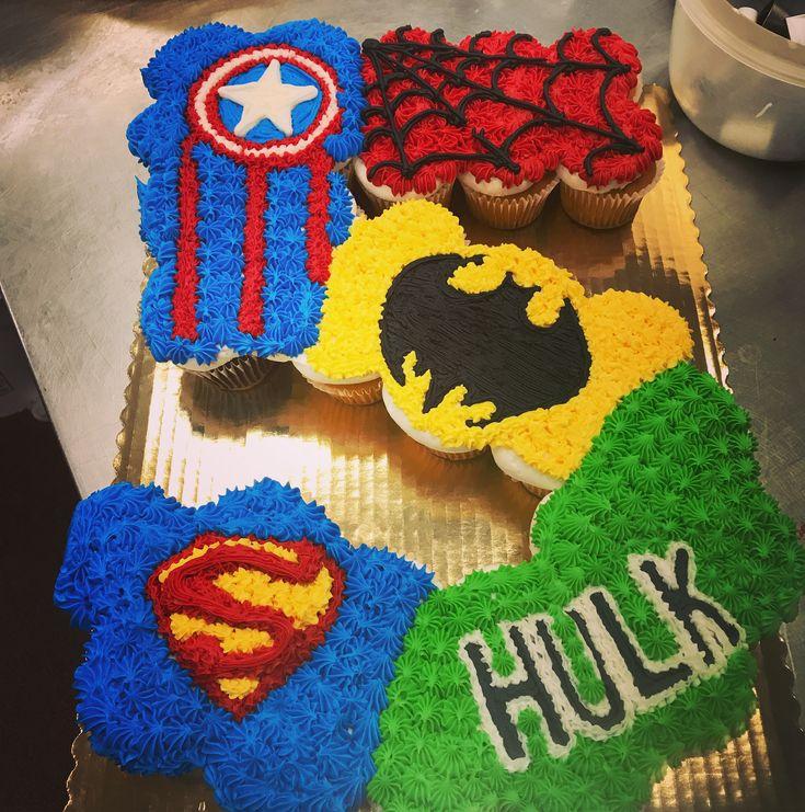 Number 5 superhero cupcake cake