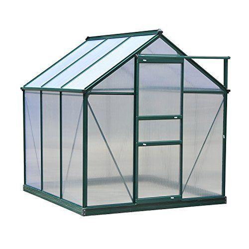 Aosom | Outsunny 6'L x 6'W x 7'H Polycarbonate Portable Walk-In Garden Greenhouse - Dark Green - Greenhouses - Gardening - Outdoor