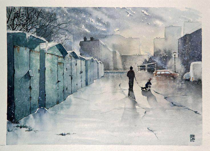 Watercolor (+ white acrylic + black pen + white pen) 30x40 cm