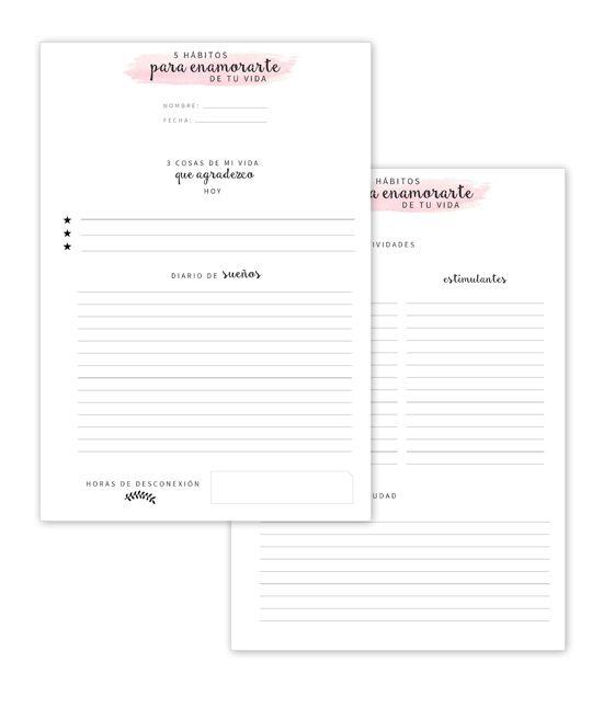 5 Hábitos para enamorarte de la vida #imprimible #habit #tracker #bullet #journal