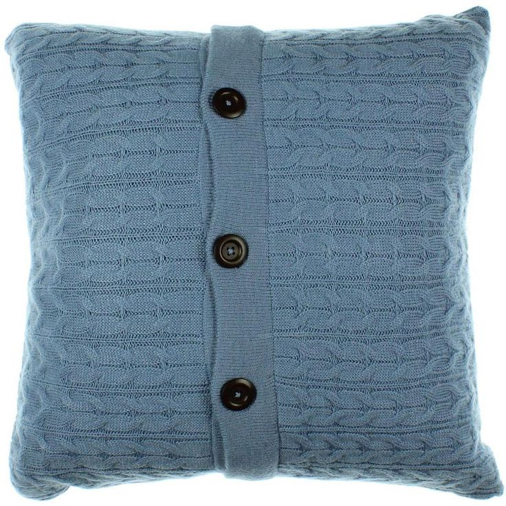 1872 2161 Blue Wool Blend Cable Knit Decorative Pillow Sham Bedding Euro BHFO #1872 #Country