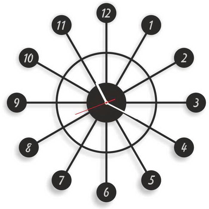 Dekoracyjny zegar ścienny Urlik Design Spark, czarny ◾ ◾ PrezentBox