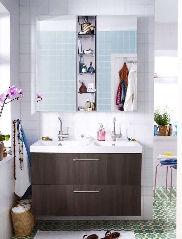 "Two 15 3/4"" mirrored cabinets with 9"" between, Grundtal stainless shelf?"