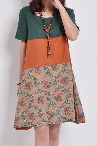 Edle V-Ausschnitt Farbblock ärmelloses Kleid für Frauen Tageskleider | RoseGal.com …