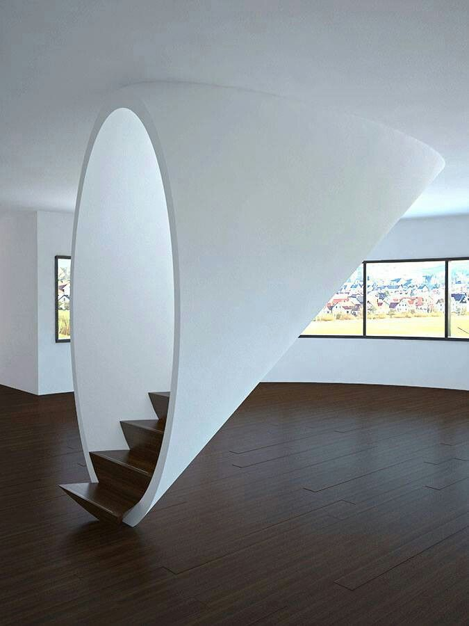 An interesting way to create a unique experience of entering a staircase