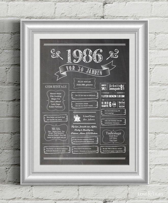 LoveAndLilies.de | Chalkboard Design: Retro Geburtstagsposter 1986 - zum 30. Geburtstag