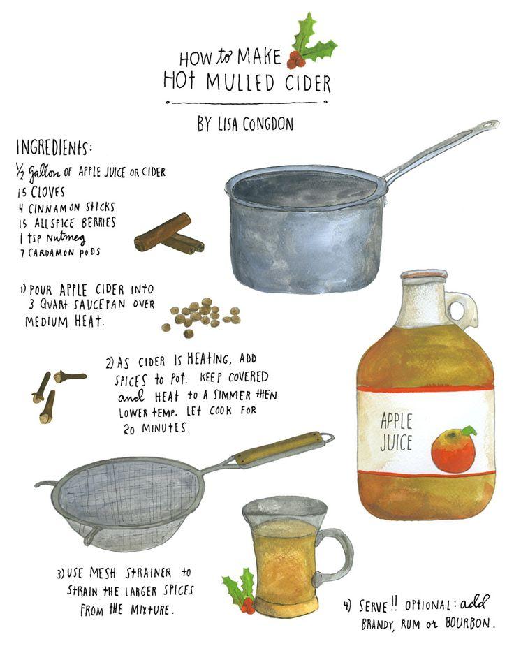 mulled cider illustrated recipe by lisa congdon #drinks #illustration