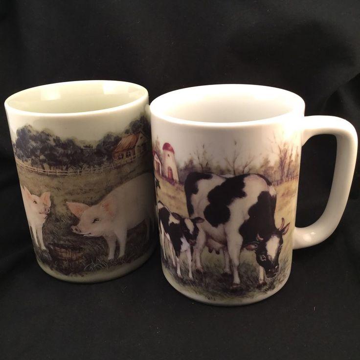2 Otagiri Japan Mug Set Pig Cows Coffee Cocoa 8oz cup - Farm Scene Vintage 9oz #Otagiri