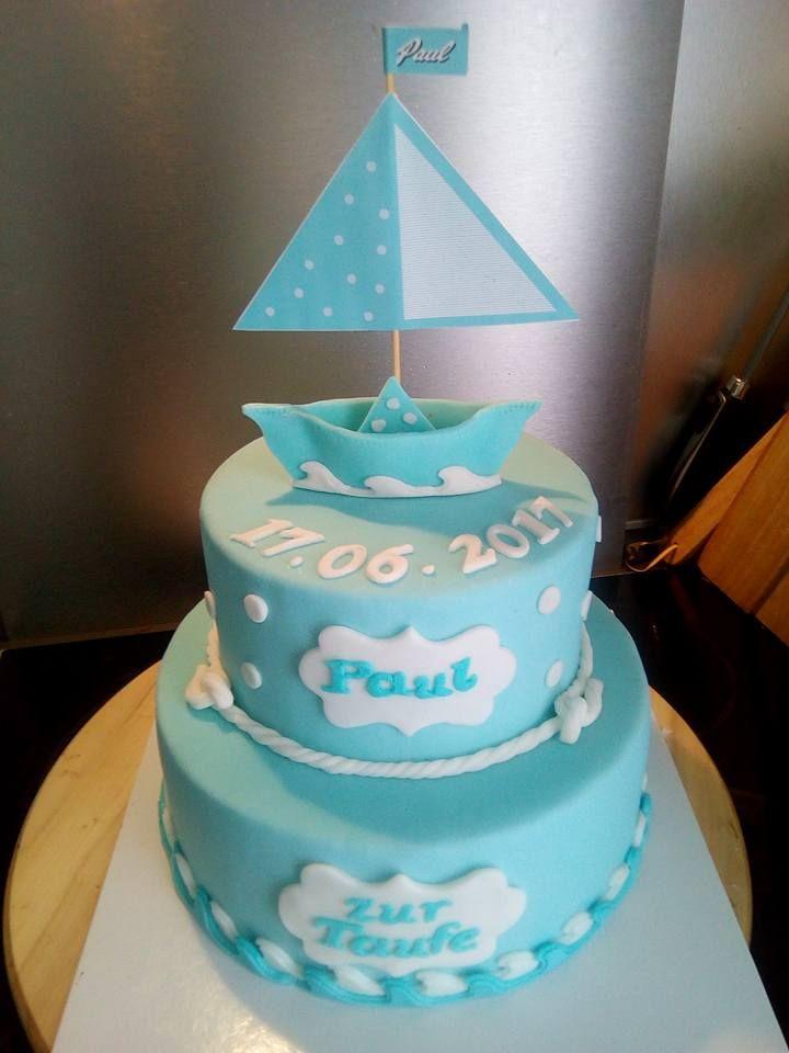 christening cake boy boat