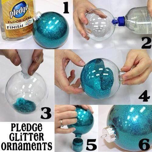 Pledge glitter ornaments
