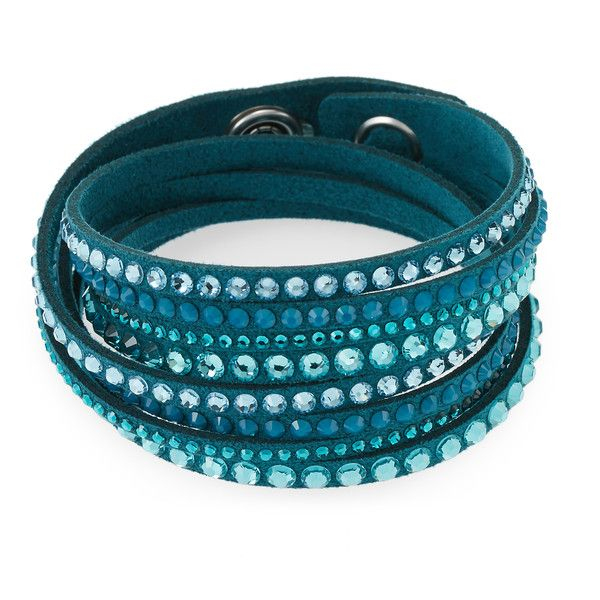 Swarovski Teal Slake Bracelet ($35) ❤ liked on Polyvore featuring jewelry,  bracelets,