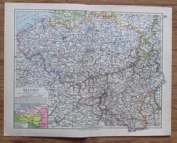 Belgien Belgium - alte Landkarte Karte old map 1928