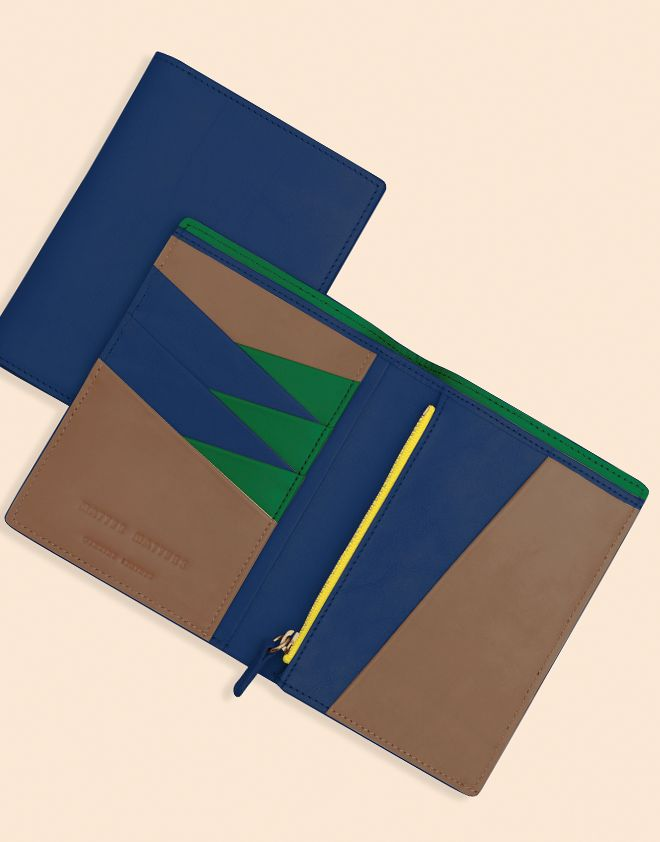 Image of PASSPORT WALLET Navy/Brown