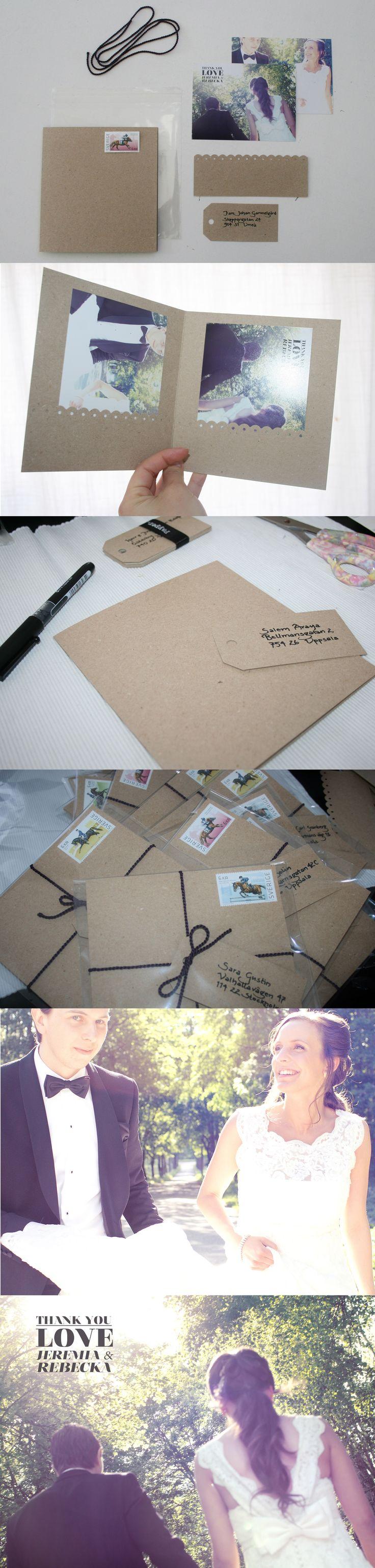 DIY wedding thank you card