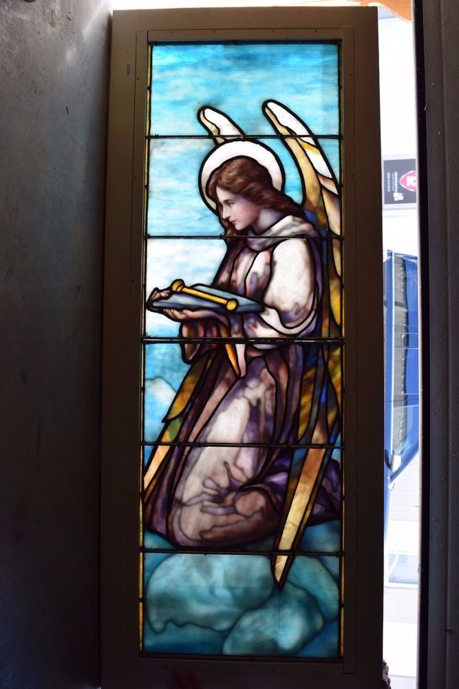 """Made by """"J & R Lamb Studios""""   (A Tiffany quality layered glass window)  . (J & R Lamb Studios """"Angel"""" #2).   This is a very fine 100 year old stained glass window of a """"Kneeling Angel""""  .   As with any 100 year old window, there may be a hairline crack or previous repair as needed  . 
