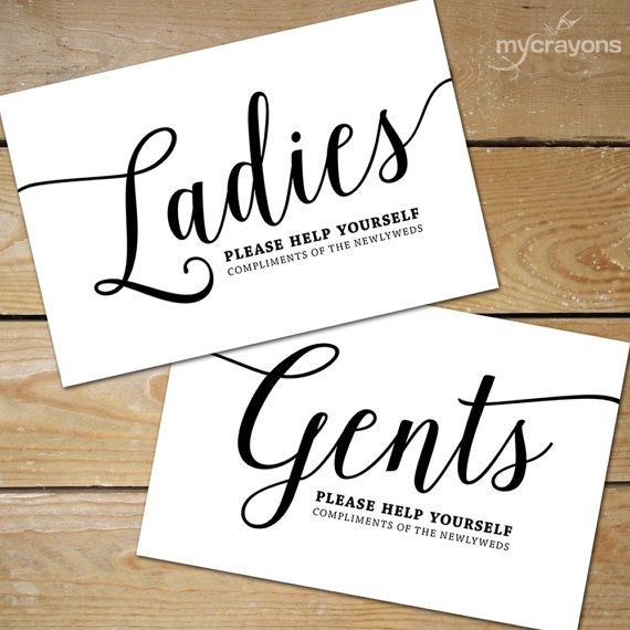 Printable Bathroom Signs by MyCrayonsDesign // Bathroom Basket Signs for Wedding in black and white