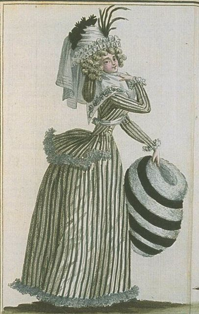 Striped dress ensemble with large striped fur muff - Magasin des Modes - March 1789