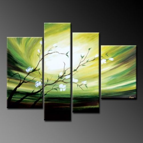 diy canvas abstract painting | Modern Abstract Canvas Oil Painting - Green Lily ... | DIY Small Canv ...