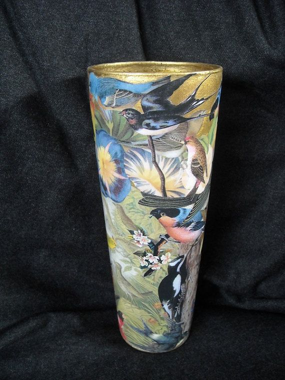 Glass vase decorated with decoupage by ArtCollagebyFiona on Etsy, $100.00
