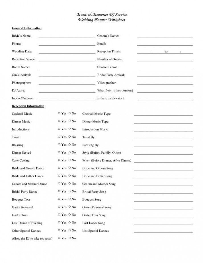 Wedding Reception Checklist Free Printable | Wedding ...