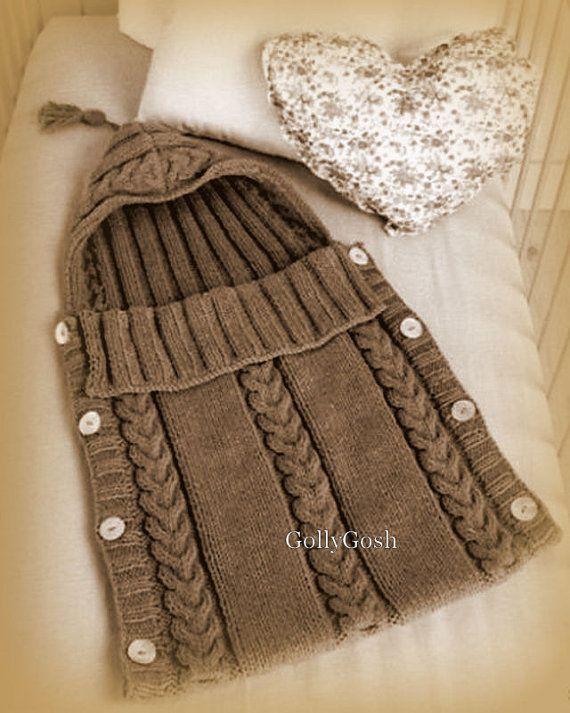 PDF Knitting Pattern - Baby's Aran Sleeping bag/Sack or Cocoon Instant Download
