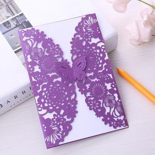 30 Piece Set Laser Cut Purple Butterfly Invitations Wedding