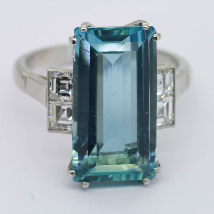 Art deco aquamarine and diamond ring 7950 #aqua #aquamarine #ring #rotd #instajewellery #diamond #Dublin #jewellery #antiquesireland #artdeco #artdecoring via: #probeatzpromo