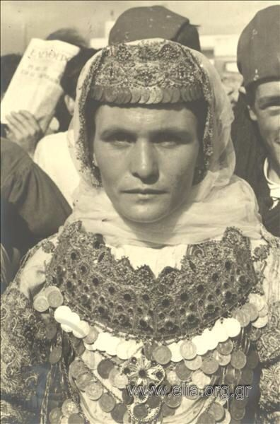 Woman in a 1900's bridal traditional costume from Aharnes (Menidi) Αttica Greece. photo 1937. Nelly's.