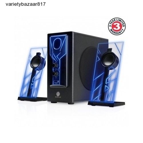 LED Stereo Sound System Powered Subwoofer for Home Theater PC Tablet Laptop Blue