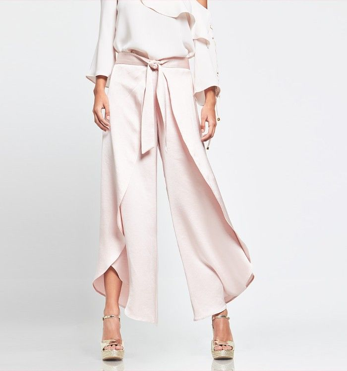 Pantalón cruzado anudado en cintura