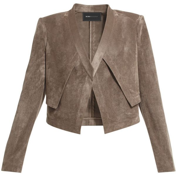 BCBGMAXAZRIA Luke Faux-Suede Cropped Jacket found on Polyvore