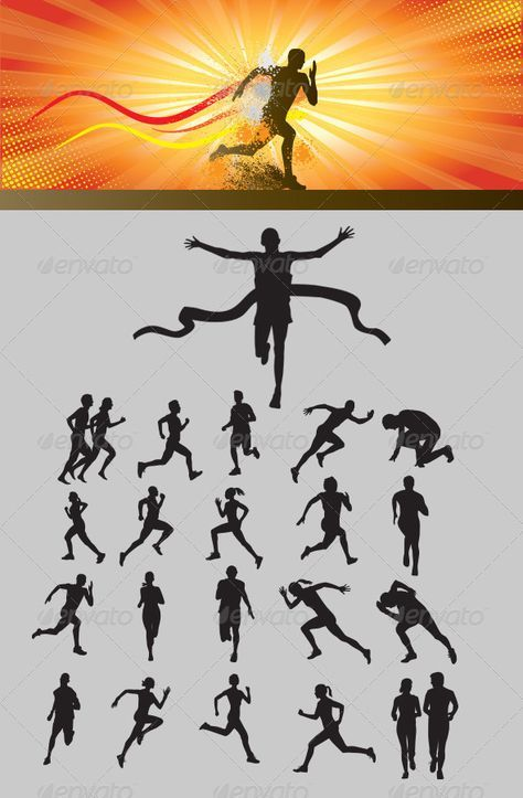 runners orange silhouettes   GraphicRiver Running Silhouette 3477043
