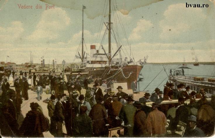 """Vedere din Port, Galati, Romania, anul 1909.  Imagine din colecţiile Bibliotecii Jedeţene """"V.A. Urechia"""" Galaţi."""