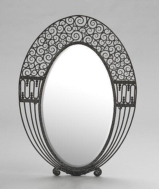 "lg. French Art Deco Wall Metal Mirror... 38""h"