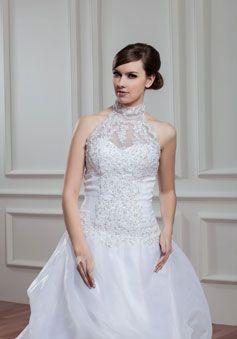 High Neck Court Train Appliques Organza A-line Low Back Wedding Dress picture 3