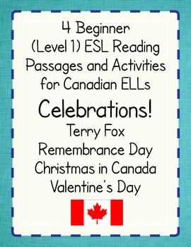 Four-product discounted bundle for high beginner Canadian English language learners - informational texts and activities: Terry Fox, Remembrance Day, Christmas in Canada, and Valentine's Day.
