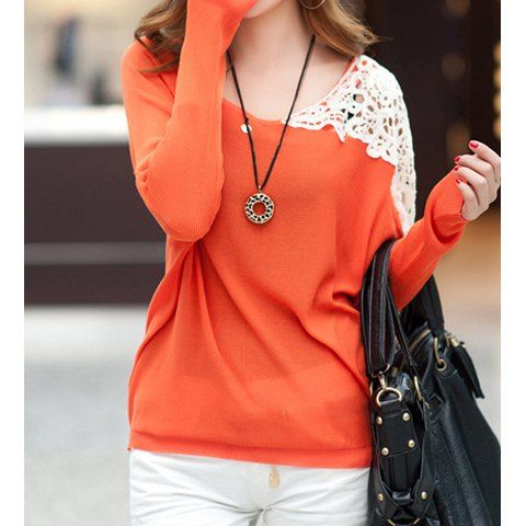 Long Sleeve Scoop Neck Lace Splicing Wom…