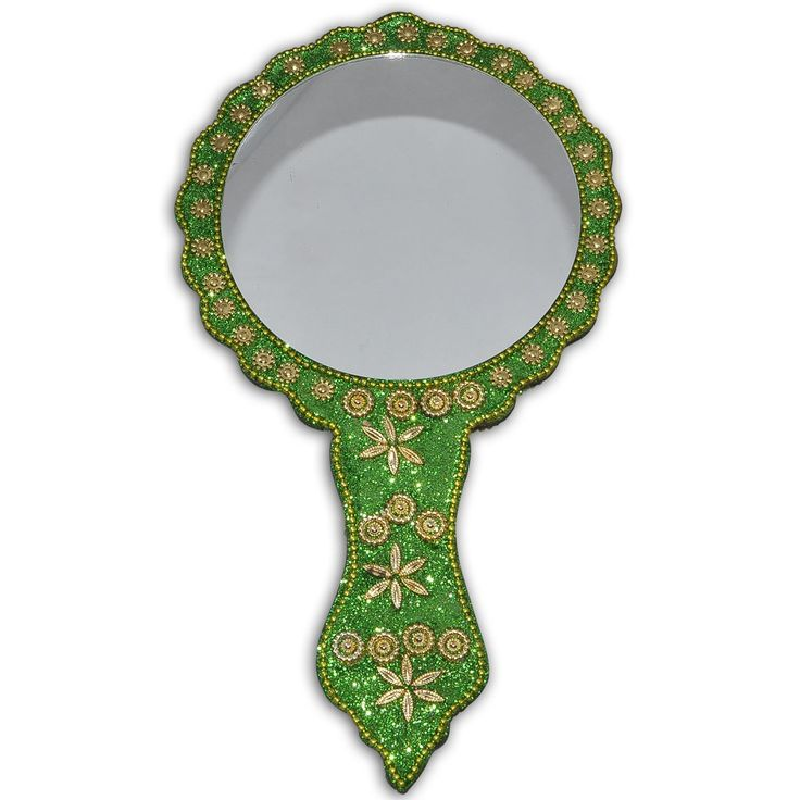 Parrot Green Golden Trinkets Decorative Hand Mirror: Amazon.co.uk: Kitchen & Home