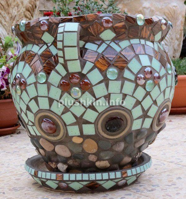 Цветочный горшок с мозаикой mosaic flower pot