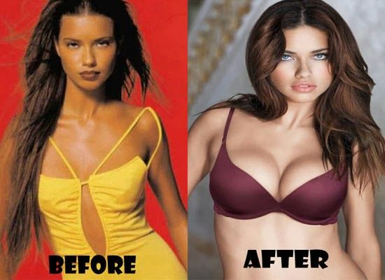 Adriana Lima, before/after.