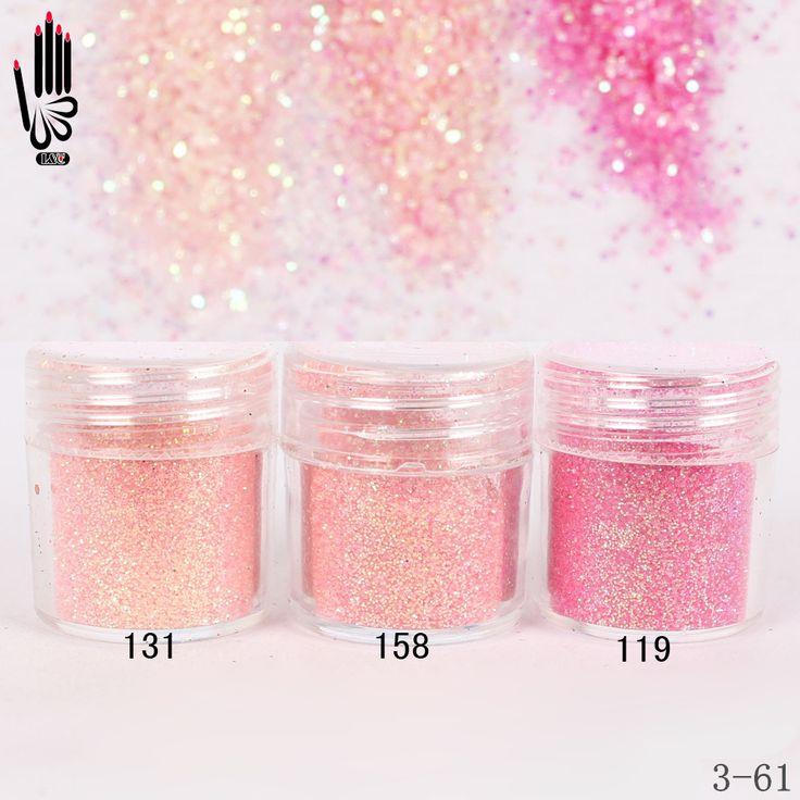 1 Glas/Box 10 ml Nail Fashion 3 Licht Rosa Roten Nagel Glitter feines Pulver Für Nail art Dekoration Optional 300 Farben Fabrik 3-61