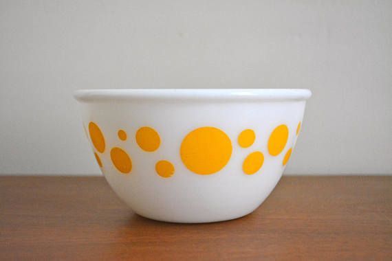 Vintage Hazel Atlas Yellow Polka Dot Mixing Bowls. Retro | Vintage ...
